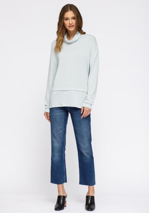 Pleione Cowl Neck Drop Shoulder Layered Hem Top Women Clothing