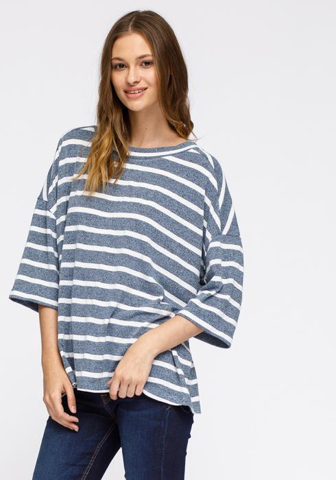 Pleione Crewneck Stripe Drop Shoulder Tee Women Clothing