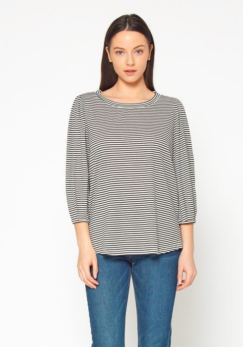 Pleione Crewneck 3/4 Sleeve Stripe Top Women Clothing