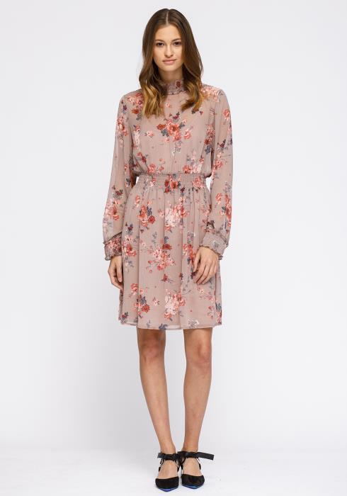 Pleione Floral Smocked Mock Neck Dress Women Clothing