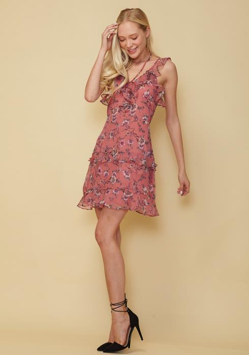 Nurode Wax Flower Mini Ruffled Sleeveless Dress Women Clothing