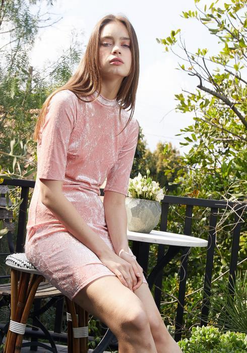 Nurode Velvet  Deep V  Cutout Back Dress Women Clothing