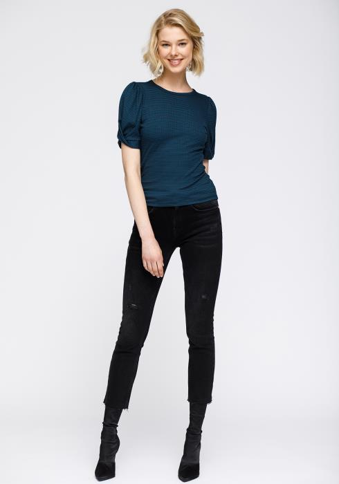 Nurode Gathered Short Sleeve Stripe Knit Top Women Clothing