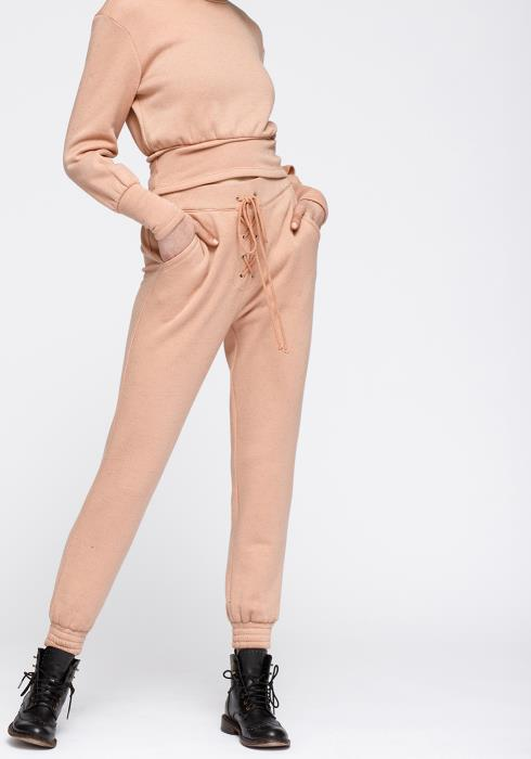 Nurode Lace up Brushed Terry Sweatpants Women Clothing