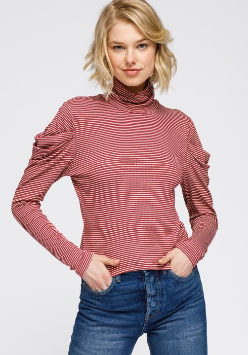 Nurode Turtle Neck Puff Sleeve Stripe Knit Top Women Clothing