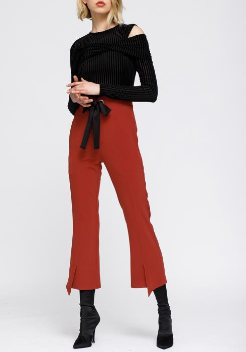 Nurode High Waist Front Slit Trouser Women Clothing