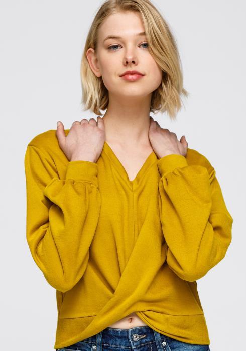 Nurode V-neck Wrap Front Sweashirt Women Clothing