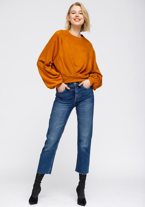 Nurode Crewneck Ruched Sleeve Sweatshirt Women Clothing