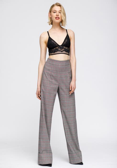 Nurode Multi Glen Plaid High Waist Wide Leg Pants Women Clothing