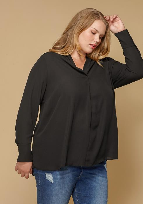 Pleione Pleated V-neck Long Sleeve Blouse Plus Size Women Clothing