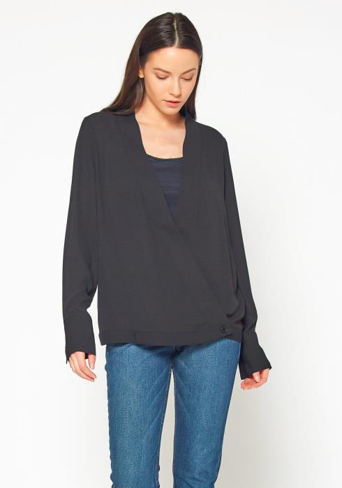 Pleione Wrap Front V-Neck Blouse Women Clothing