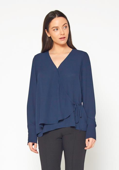 Pleione Wrap Front Long Sleeve Blouse Women Clothing