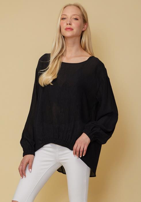 Pleione Hi-Lo Elastic Banded Hem Top Women Clothing