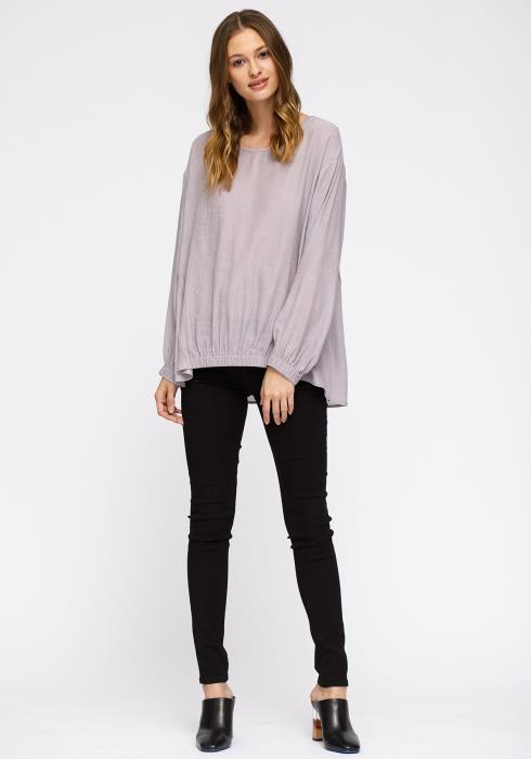 Pleione Hi-Lo Elastic Banded Hem Top Women Clothing
