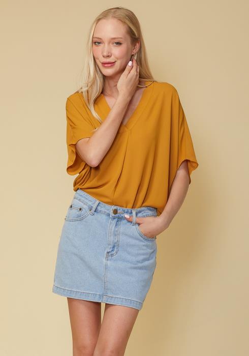 Pleione Hi-Lo Dolman Short Sleeve V-neck Blouse Women Clothing