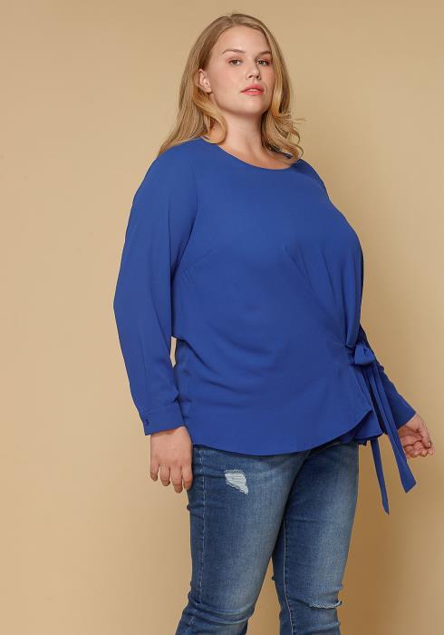 Pleione Plus Size Women Clothing Self-Tie Wrap Front Blouse