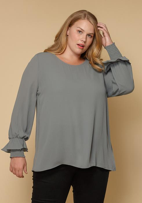 Pleione Round Neck Plus Size Women Clothing Smocked Ruffle Cuff Top