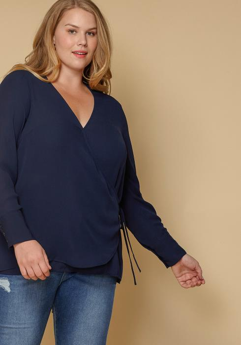 Pleione Wrap Front Long Sleeve Plus Size Women Clothing Blouse