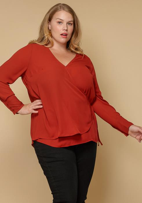 Pleione Wrap Front Long Sleeve Plus Size Women Clothing Blouse