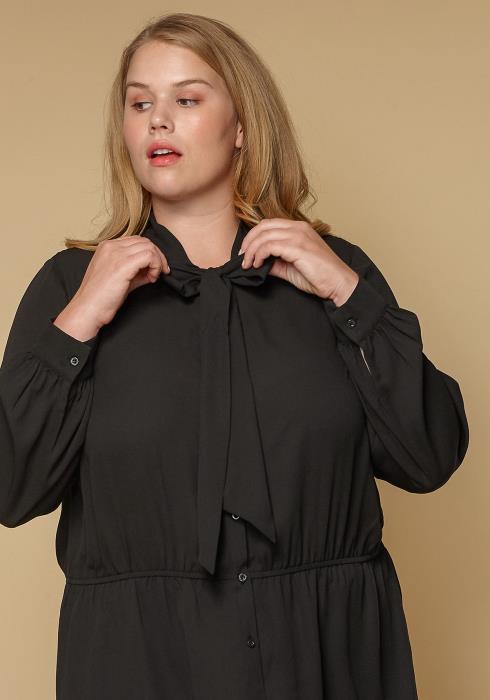 Pleione Plus Size Women Clothing Tie Neck Button Down Peplum Blouse