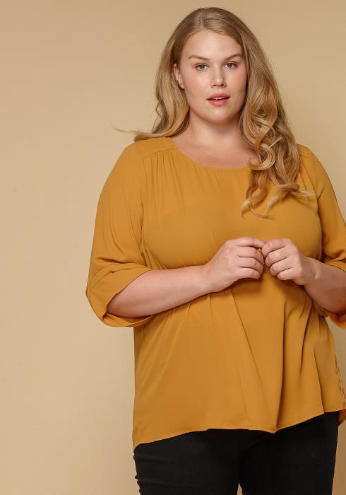 Pleione Plus Size Women Clothing 3/4 Sleeve Multi Layered Cuff Blouse