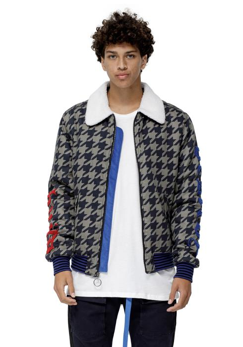 Konus MA-2 Bomber Jacket in Houndstooth with Sherling Collar