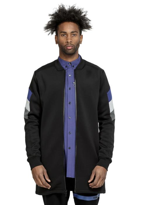 Konus Long Bomber Jacket in Scuba with Color Blocking on Sleeves