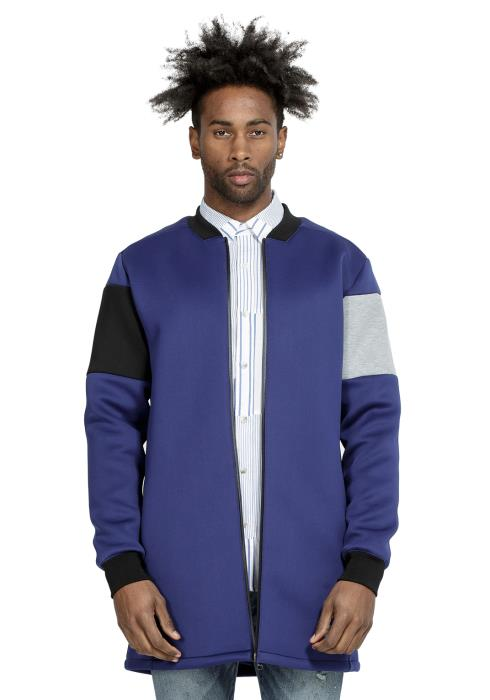 Konus Long Bomber Jacket in Scuba with Color Blocking