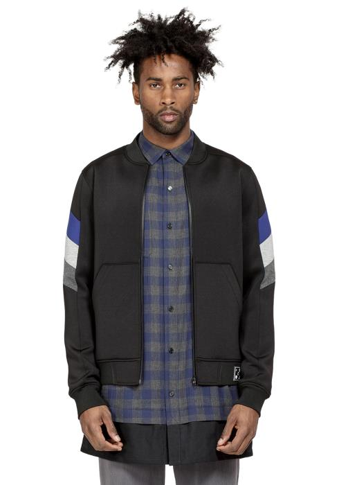 Konus Bomber Jacket in Scuba Fabric with Color Blocking on Sleeves
