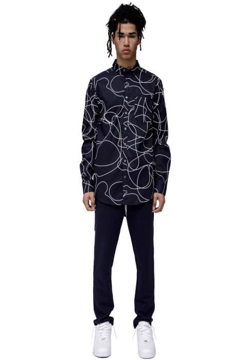 Konus Long Sleeve Button Down Shirt in Line Work Printed fabric