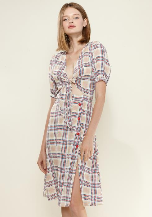 Nurode Multi Check Tie Hem Blouse