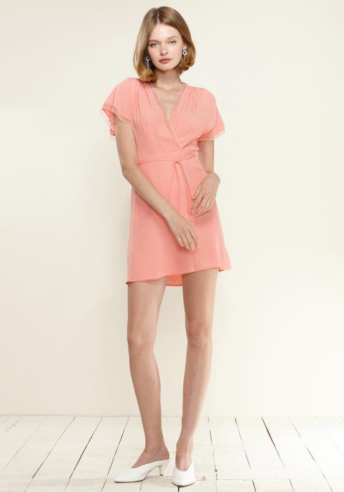 Nurode Lace Trim Wrap Dress