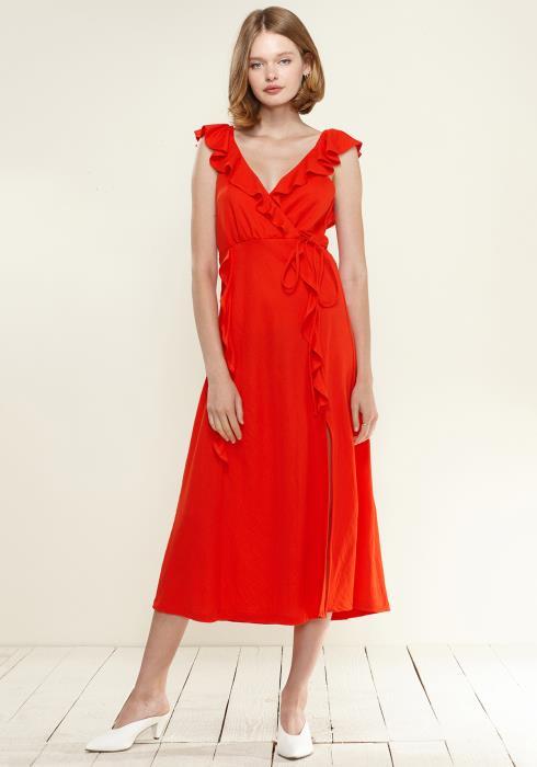 Nurode Ruffle Trim Wrapped Maxi Dress