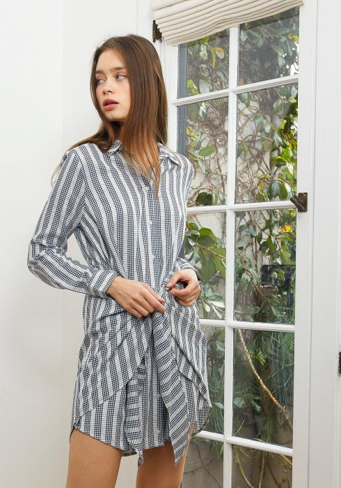 Nurode Lace Trim Wrapped Shirt Dress