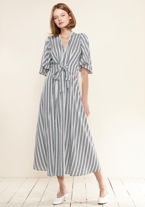 Nurode Lace Trim Tie Front Maxi Dress