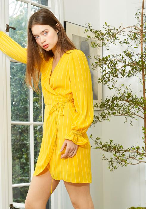 Nurode Smocked Bell Sleeve Wrap Dress