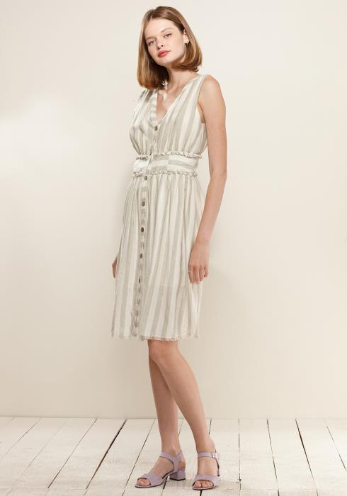 Nurode Sleeveless Button Down Stripe Dress