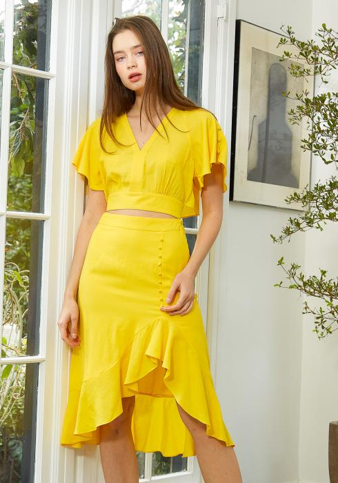 Nurode Asymmetrical Hem Button Front Skirt