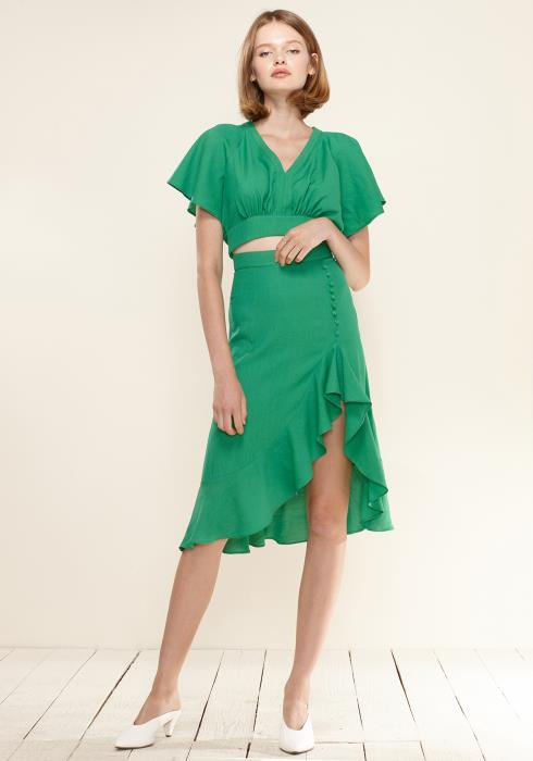 Nurode Asymmetrical Hem Button Front Skirt