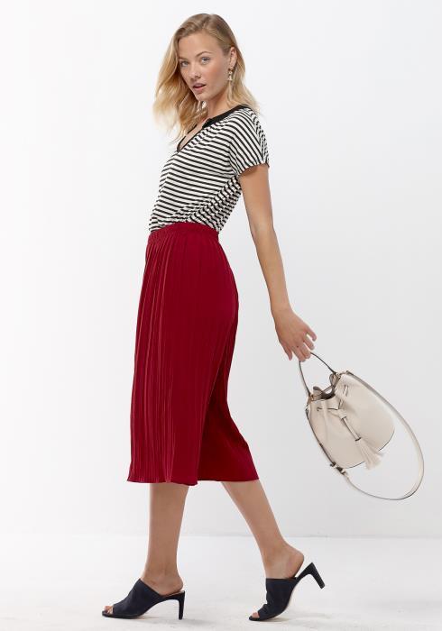Pleione V-Neck Stripe Women Clothing Top