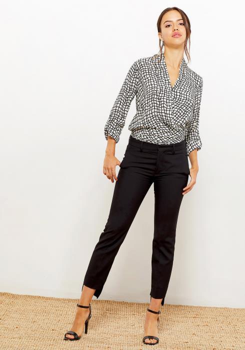 Pleione Women Clothing Wrap Front Grid Print Blouse