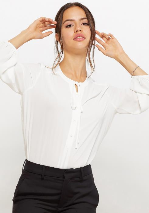 Pleione Women Clothing Tie Neck Button Front Blouse