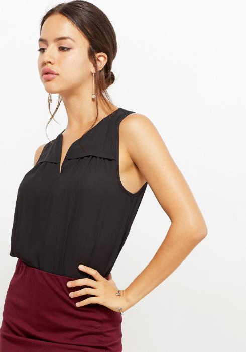 Pleione Women Clothing Split Neck Sleeveless Blouse