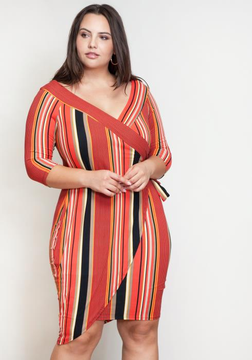 Asoph Plus Size Striped Wrap Dress Women Clothing