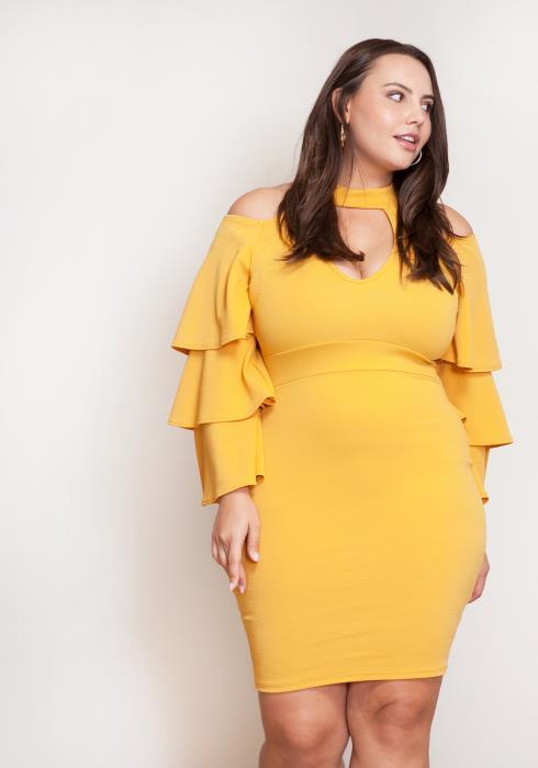 Asoph Haltered Ruffle Plus Size Women Clothing Dress