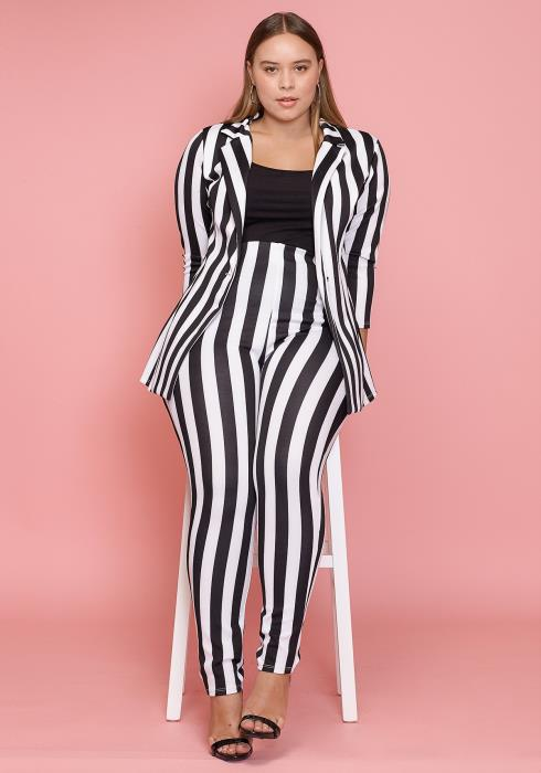 Asoph Plus Size Vertical Striped Pants