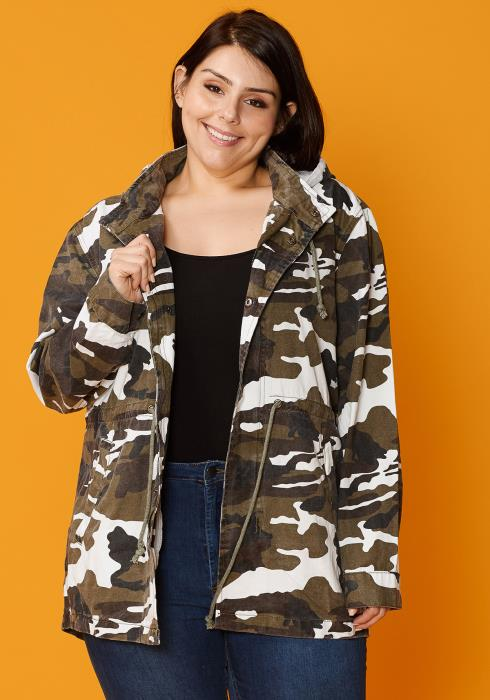 Asoph Plus Size Cant Find Me Camo Hooded Womens Jacket
