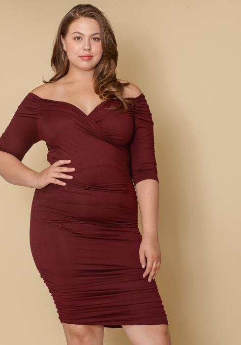 Asoph Plus Size Women Clothing Off Shoulder Bodycon Dress