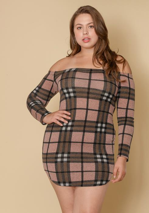 Asoph Plus Size Off Shoulder Plaid Dress Women Clothing
