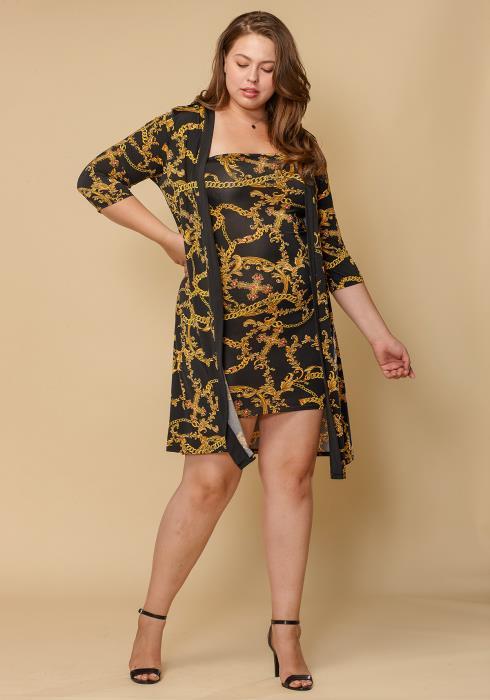 Asoph Plus Size Women Clothing Gold Chain Tube Dress & Cardigan Set